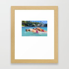 zoey and lainey swimming Framed Art Print