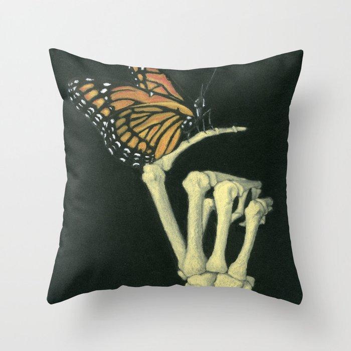 Butterfly & Bones Throw Pillow