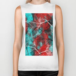 Abstract geometric pattern with Leaves contours. red maroo Biker Tank