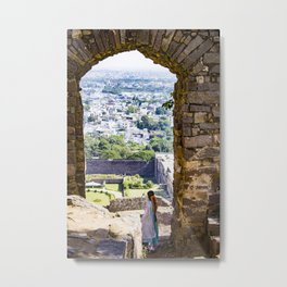 Indian Woman Looking at the City of Hyderabad, India from one of the Stone Arches of Golconda Fort Metal Print