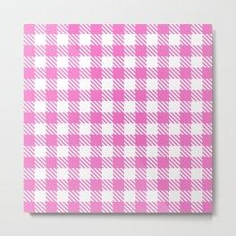 Plaid Pattern 512 Pink Metal Print