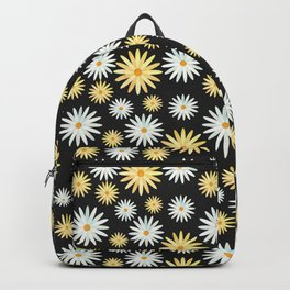 Watecolor Daisies Pattern | Black Backpack