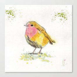 Little Colorful Yellow Bird Canvas Print
