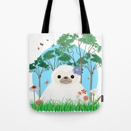 Super cute white two toed Sloth Tote Bag
