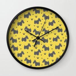 Cute Scottish Terrier Dog Pattern Design Wall Clock