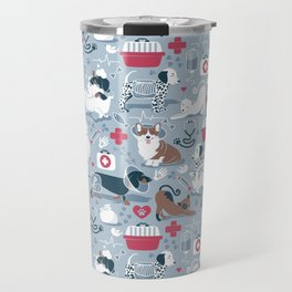Veterinary medicine, happy and healthy friends // pastel blue background Travel Mug