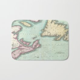 Vintage Map of Nova Scotia and Newfoundland (1807) Bath Mat