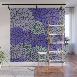 Ultra Violet Periwinkle Gray Dahlias Wall Mural