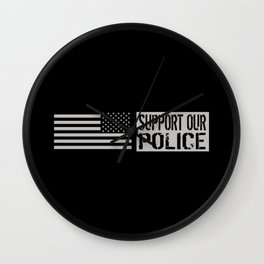 Support Our Police: Black U.S. Flag Wall Clock