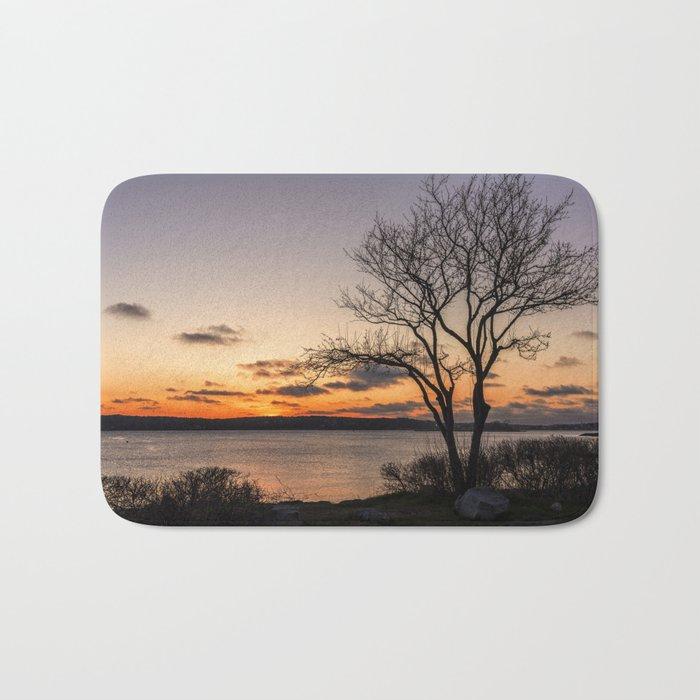 Tree silhouette at sunset Bath Mat