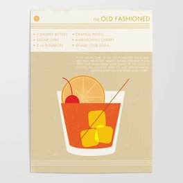 Old Fashioned Cocktail Art Print Poster