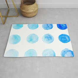 Calming Blue Watercolor Circles Rug