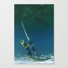 wind surfer underwater Canvas Print