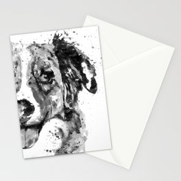Black and White Half Faced Border Collie Stationery Cards