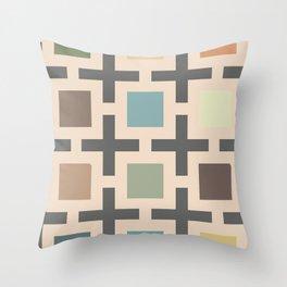 60s vintage geometrical square  Throw Pillow
