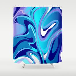 Liquify in Turquoise, Lavender, Purple, Navy Shower Curtain