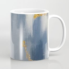 Blue and Gold Ikat Abstract Pattern #2 Coffee Mug