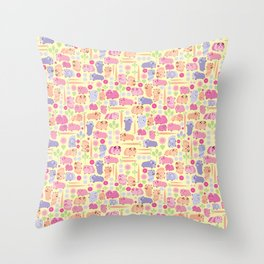 Pastel Guinea Pig Vegetable Patch Throw Pillow