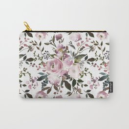 Blush rose pink green watercolor elegant floral Carry-All Pouch
