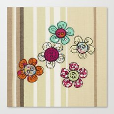 Embroidered Flower Illustration Canvas Print
