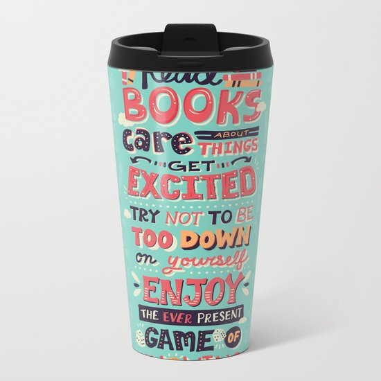 Read Books Metal Travel Mug