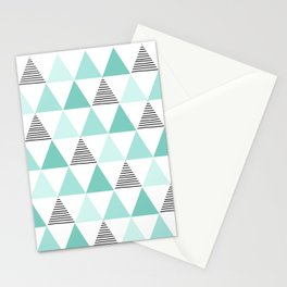 Black Stripes and Mint Triangles Stationery Cards