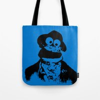 tom waits Tote Bags featuring Cookie Waits by Thorn Blackstar