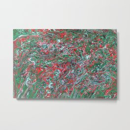 Green and Red paisley marbled painting Metal Print