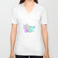 magical girl V-neck T-shirts featuring Magical pet (Baby Girl) by Olluga