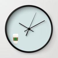 starbucks Wall Clocks featuring Starbucks by Malin Erixon