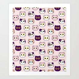 Kitty Pattern- Pink Art Print