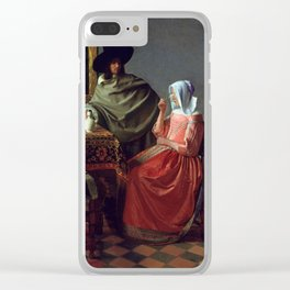 """Johannes Vermeer """"A Lady Drinking and a Gentleman"""" Clear iPhone Case"""