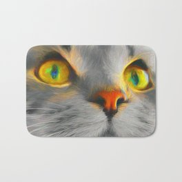 Big gray cat Bath Mat