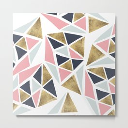 Modern geometrical pink navy blue gold triangles pattern Metal Print