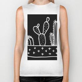 Cactus Planter Gray on Black Biker Tank