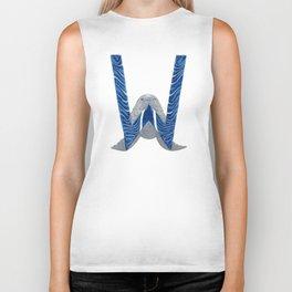 W is for Walrus Letter Alphabet Decor Design Art Pattern Biker Tank
