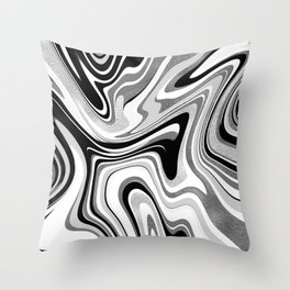 Black and Silver Marble Swirl Throw Pillow