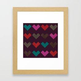 leather geometric love on dark purple Framed Art Print