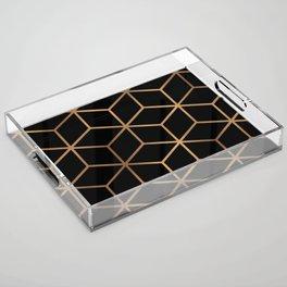 Black and Gold - Geometric Cube Design Acrylic Tray