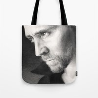 tom hiddleston Tote Bags featuring Tom Hiddleston by CaptBexx