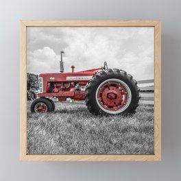 Vintage IH Farmall 450 Side View Selective Red Tractor Framed Mini Art Print