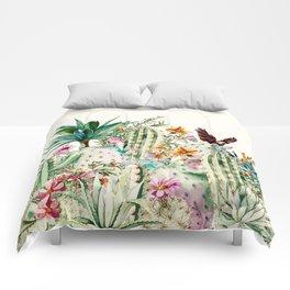 Blooming in the cactus Comforters