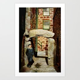1900 St. Ives Cornwall, The Old Arch, local boy Art Print