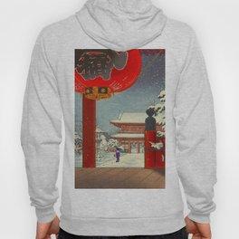 Tsuchiya Koitsu A Winter Day at The Temple Asakusa Vintage Japanese Woodblock Print Hoody
