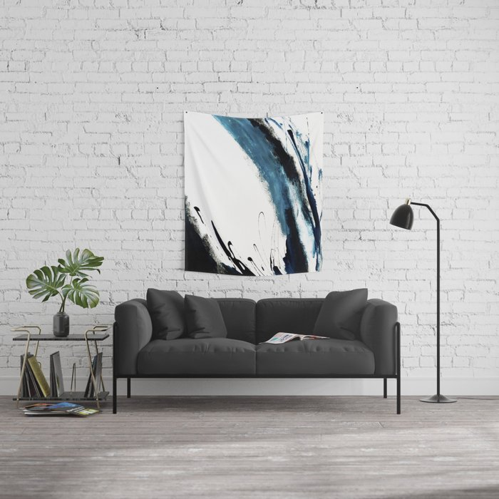 Reykjavik: a pretty and minimal mixed media piece in black, white, and blue Wall Tapestry
