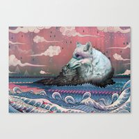 hokusai Canvas Prints featuring Lone Wolf by Mat Miller