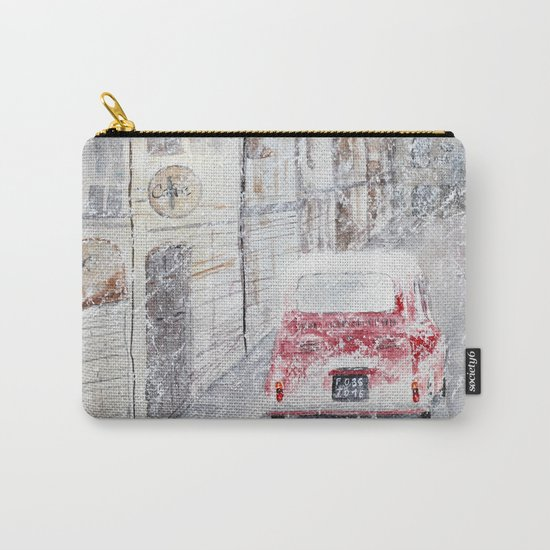 Snowfall and little red car Carry-All Pouch