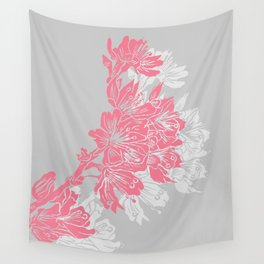 Cherry Blossom Grey Block Print Wall Tapestry