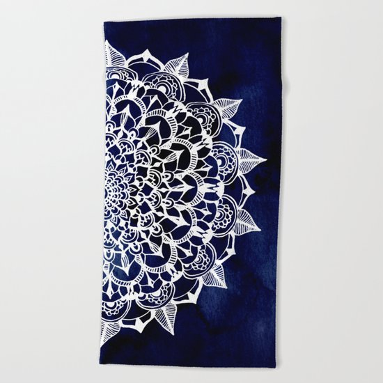 White Lace Medallion on Ink Blue Beach Towel