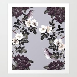 Birds and the Bees Blue Gray Art Print